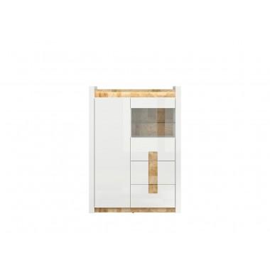 Alameda REG1W1D2S vitrin led világítással, fényes fehér/westminster tölgy