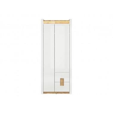 Alameda REG2D2S polcos szekrény, fényes fehér/westminster tölgy