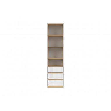 Nandu REG3S fiókos könyvespolc, lengyel tölgy/fényes fehér
