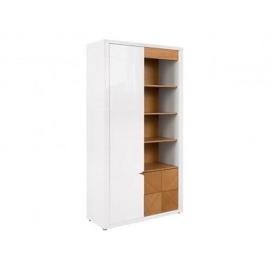 Rovika REG1D2S polcos szekrény, natúr tölgy/fényes fehér