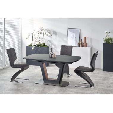 Bilotti nyitható étkezőasztal, antracit/fekete, 160-200x90