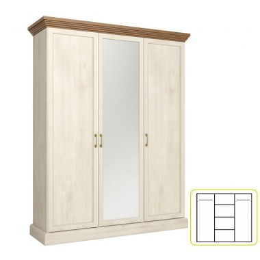 Akasztós szekrény polcokkal, tükörrel, északi erdei fenyõ/tölgyfa, ROYAL S3D