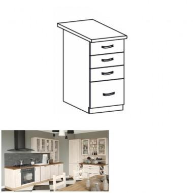 Alsó fiókos szekrény,  fehér/északi fenyõ, ROYAL D40S