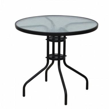 Étkezőasztal/kerti asztal, fekete acél/edzett üveg, BORGEN TYP 2